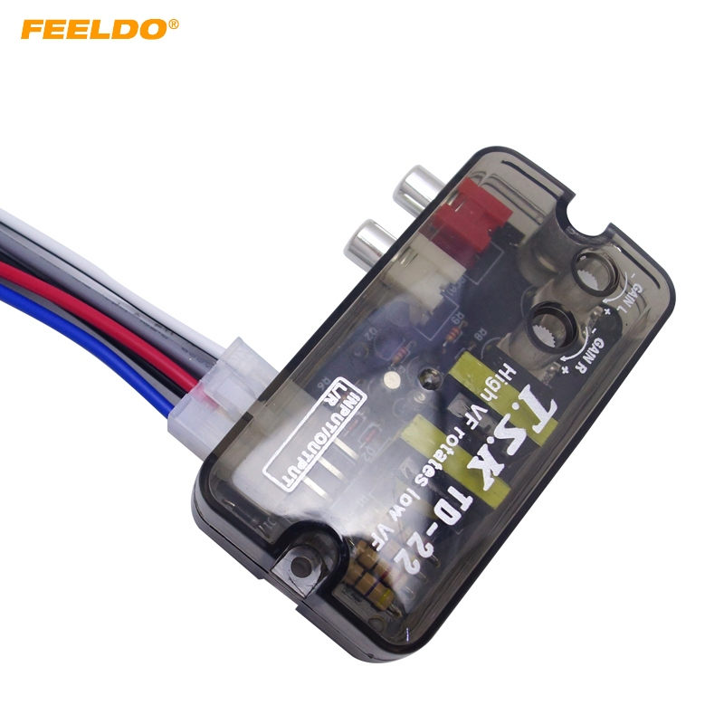 FEELDO 1Pc 12V RCA Auto Car Stereo Audio Speaker Level Converter High VF Rotates Low VF Converter #AM1588