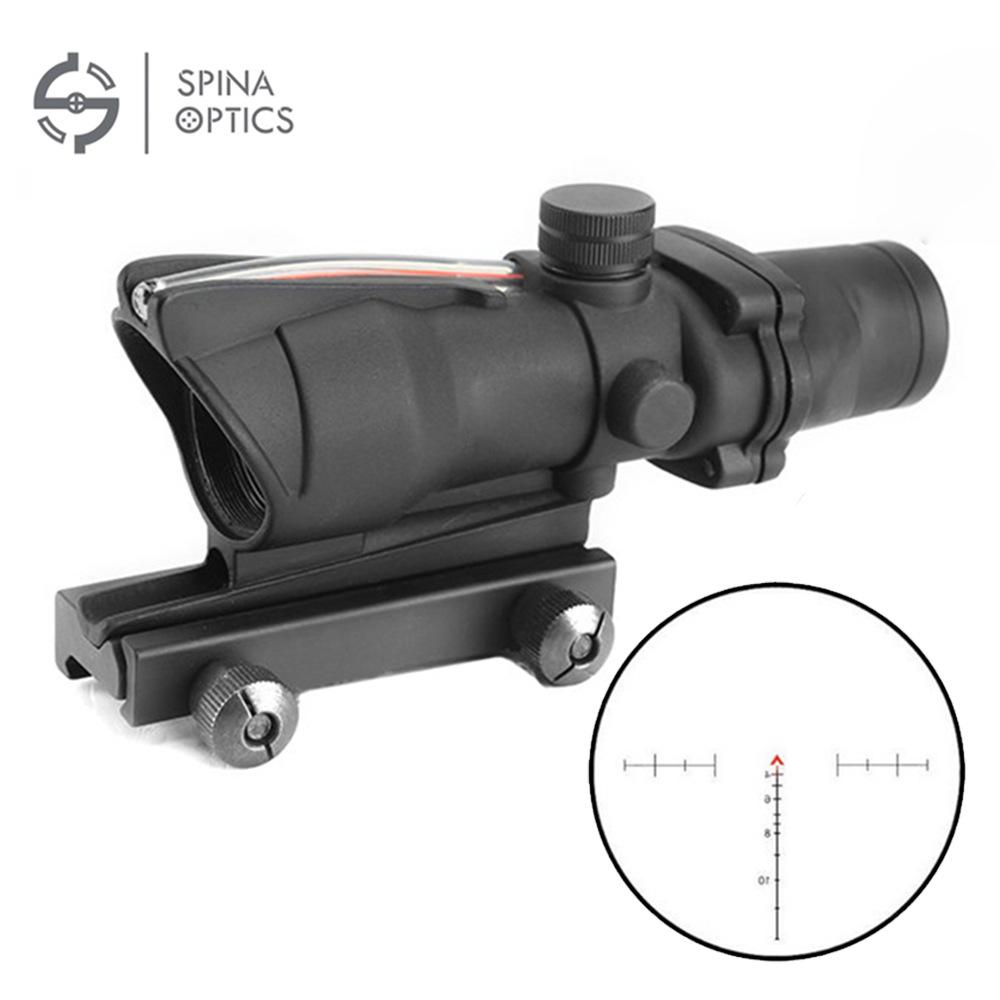 SPINA OPTICS Tactical Hunting Rifle Scope Optic Sight Airsoft ACOG 4X32 Airsoft Scope Real Red Fiber Riflescope