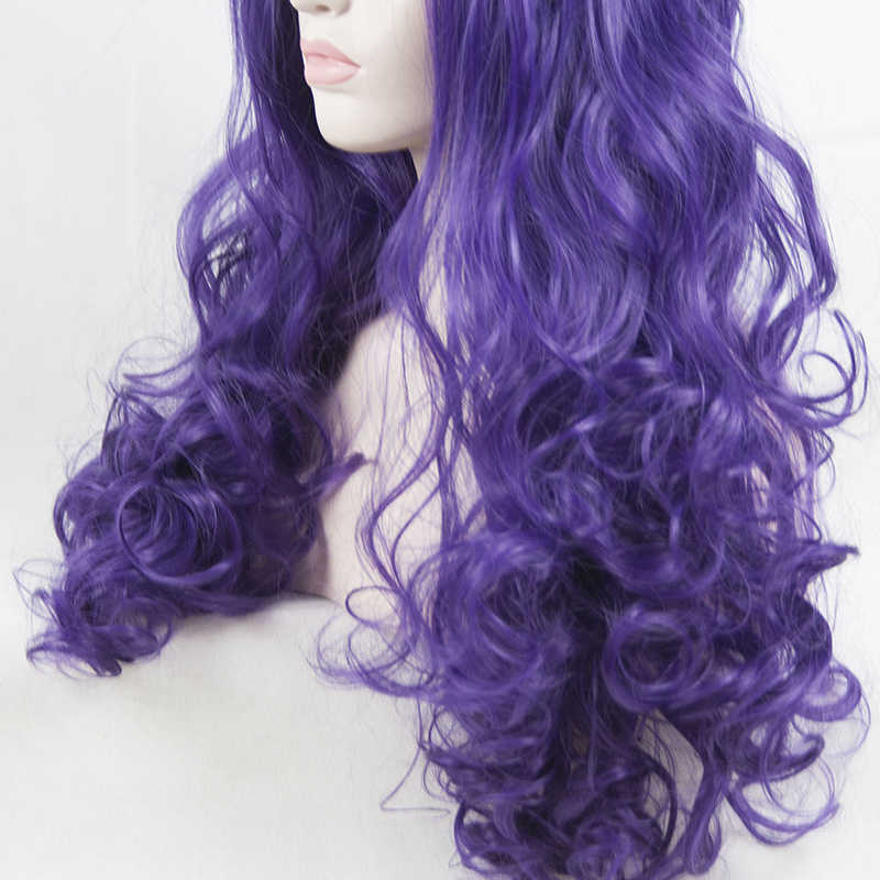 Фиолетовый Синтетические волосы на кружеве парик жаропрочных 24 ''волокна длинные волнистые парики для женщин Косплэй парик