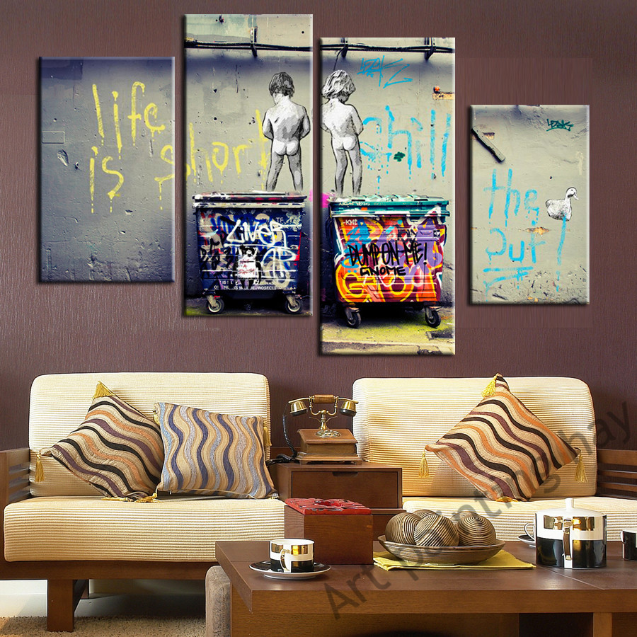 Graffiti art home decor - 4 Pieces Of Canvas Wall Painting Abstract Graffiti Art Picture Home Decoration Canvas Modern Mural Modular