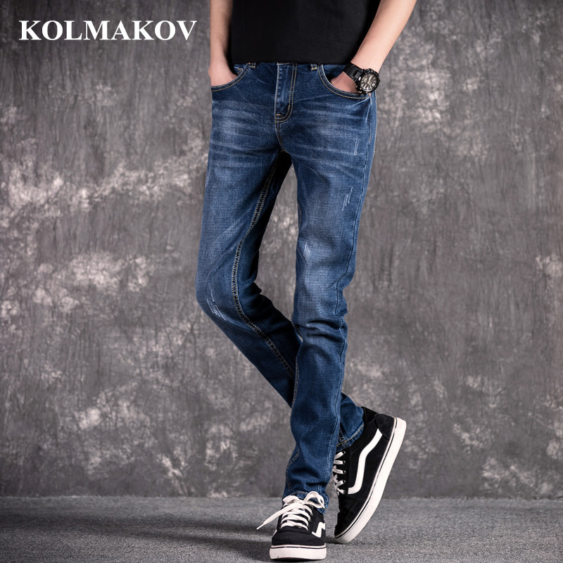 KOLMAKOV 2019 NEW Jeans For Men Spring Trousers Slim Fit Long Jeans Men Classic Denim Pencil Pants Fashion Man Jeans Blue Jeans