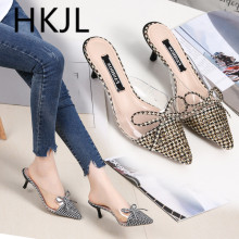 HKJL Fashion 2019 summer new womens slippers bow versatile stiletto shoes with pointed toes A723