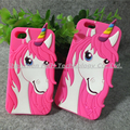 Colorful 3d cute cartoon Unicorn soft silicone rose horse back rubber cover ladies phone case for iPhone 4 4s 5 5s 6 6s plus