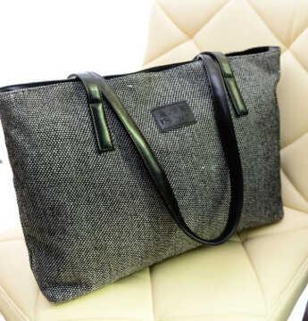 Musim dingin baru angin perguruan tas kanvas bahu, Tas tangan besar, Sederhana segar tas mahasiswi