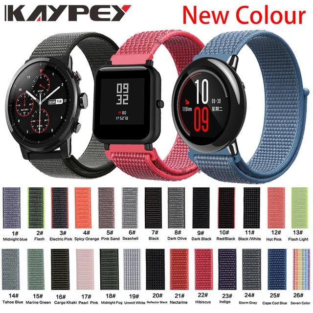 22mm 20mm Nylon Band Voor Xiaomi Huami Amazfit Bip Tempo Stratos 2/2 s Strap Wrist Nylon klittenband Smart Horloge Accessoires