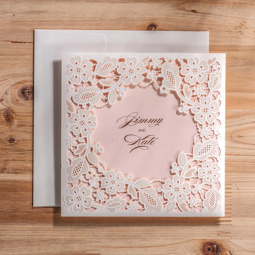 Vintage Laser Cut Wedding Invitations Cards With White Square Hollow Flora For Engagement Invitation Customizable