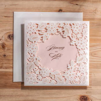Wishmade Laser Cut Wedding Invitations Cards With White Square Hollow Flora For Engagement Invitation ,Customizable,50pcs/lot - DISCOUNT ITEM  11% OFF All Category