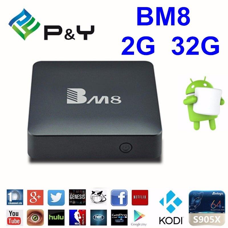 ФОТО BM8 Android 6.0 4K Smart TV Box 2G 32G Amlogic S905X Quad Core H.265 Media Player 2.4G&5G Wifi BT4.0 Mini PC VS T95X TVbox IPTV
