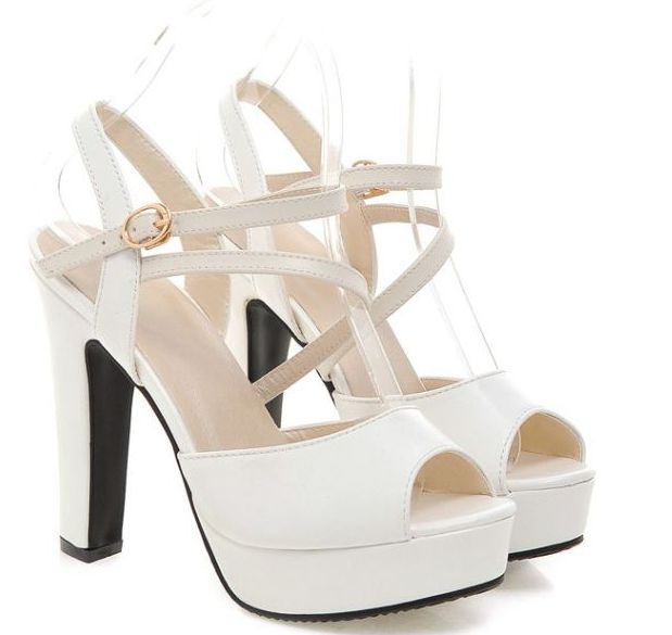 12CM super high heeled summer sandal shoes women ladies white cut outs sexy wedding shoes white superstar shoe TG921
