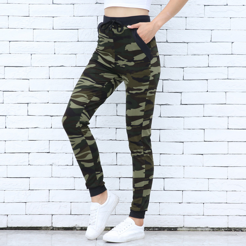 Camo Print Drawstring   Leggings   Women Skinny Leggins Fashion Athleisure   Legging   femme Mujer Loose Calca Female High Waist Pocket
