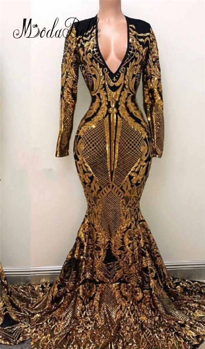 Sequin Cocktail Dress modabelle Luxury Mermaid Long Sequin Evening Dress Gold Black Saudi Arabia  Vestidos Festa Longo Prom Dresses With Sleeves 2018