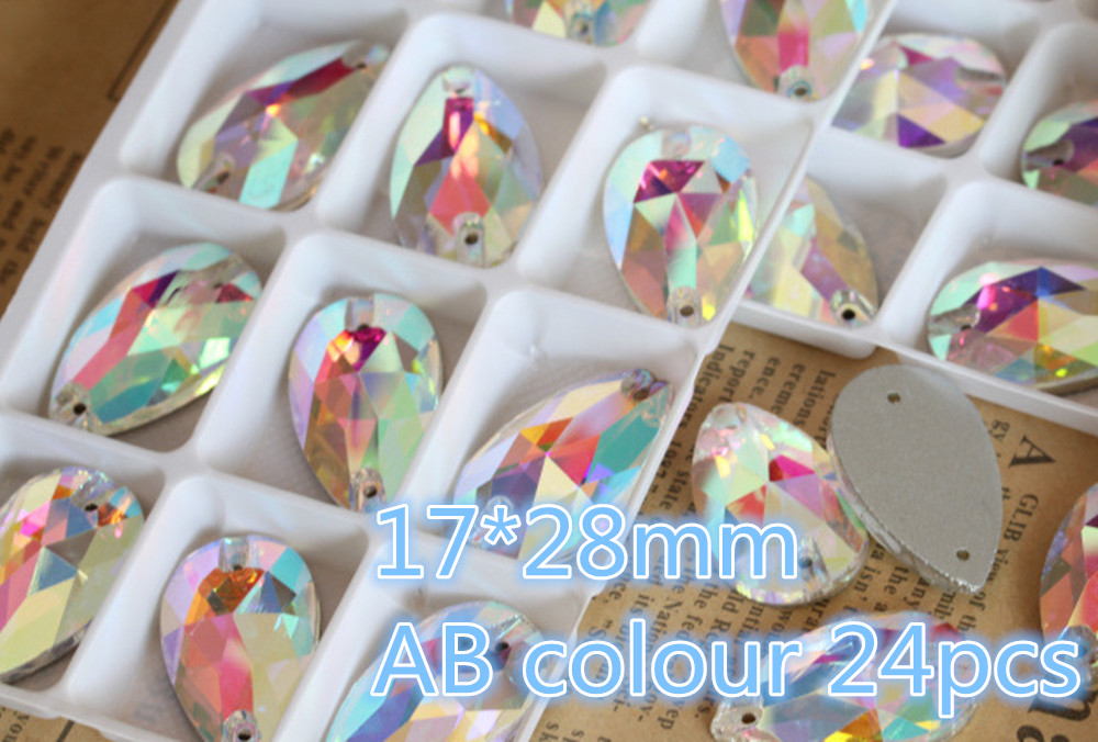 MRHUANG Briller! 24 pcs 17*28mm AB couleur Teardrop Verre Strass avec trou coudre sur robe chaussures cristal Pierre Effacer chatons Pierre
