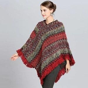 Image 3 - Abrigo mujer poncho capa casaco de inverno feminino ponchos capas morcego pulôver cor listra tricô marca luxo borlas roubou 115