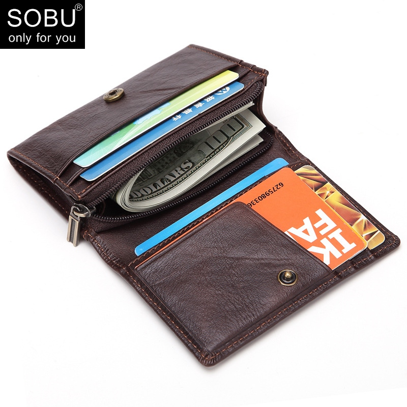 купить Men Purse Leather Wallet Small Coin Purse Genuine Leather Man Wallets with coin pocket Slim Wallet Card Holder Male Purses N104 онлайн