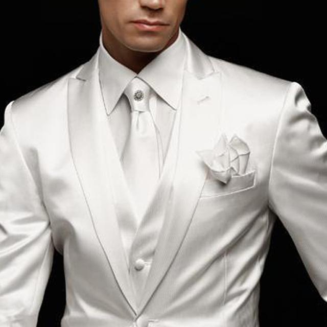White Wedding Man Suit Groom Tuxedos 2019 Slim Fit Prom Party Custom Satin Men Suits 3 Piece Jacket Pants Vest Male Blazer