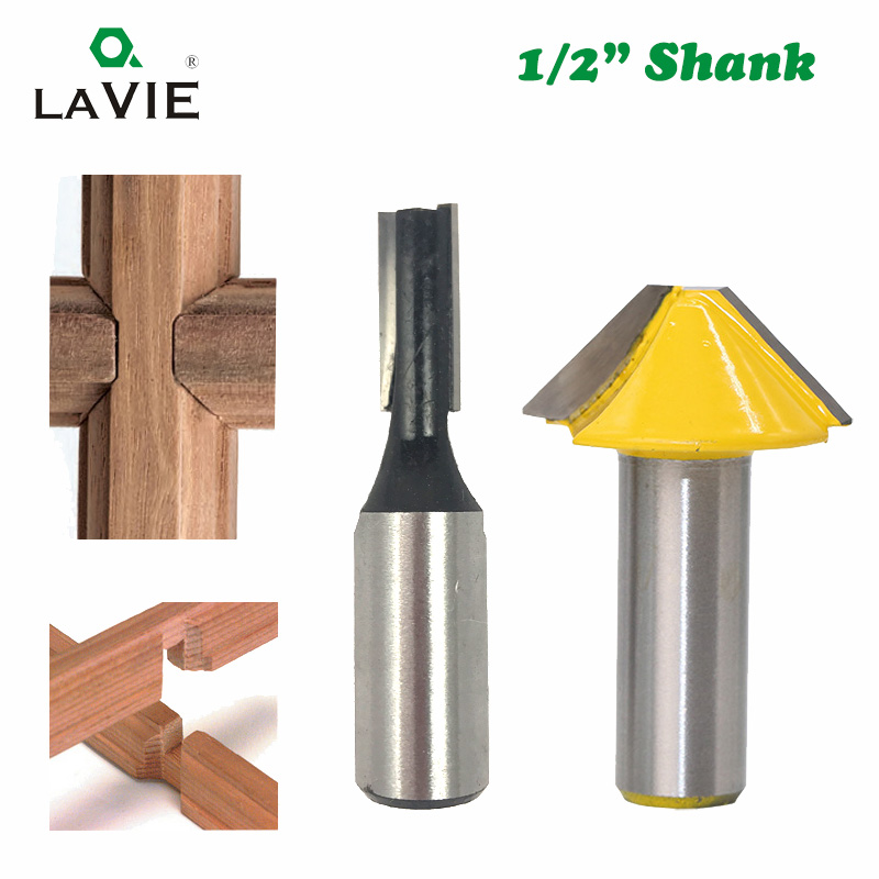 LAVIE 2pcs 12mm 1/2 Carbide Tenon Cutting Bits Knife Flat-bottomed V Shape Milling Cutters Router Bit For Wood Door Window 027