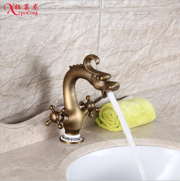 Vintage home decor antique European garden full copper hot and cold dual hot and cold faucet bathroom cabinet basin tap cock гироскутер hoverbot a 3 premium metallic pink