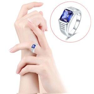 Image 3 - J.C kobiety mężczyźni w stylu Vintage projekt luksusowe niebieski szafir i tanzanit i biały Topaz 925 Sterling srebrny pierścień rozmiar 7 8 9 10 Fine Jewelry