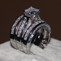 Victoria Wieck Luxury Women Fashion Full Princess Cut 20ct Cz Diamond White Gold Filled 3 Engagement