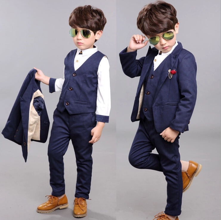 2017 New Style Boy's Formal Suits Boys Spring Blazer + Shirt + Vest + Pants 4 Pcs/Set Children Clothing Sets for Wedding kindstraum school trend boys formal clothing suits shirt vest pants tie 4 pcs set children sets party