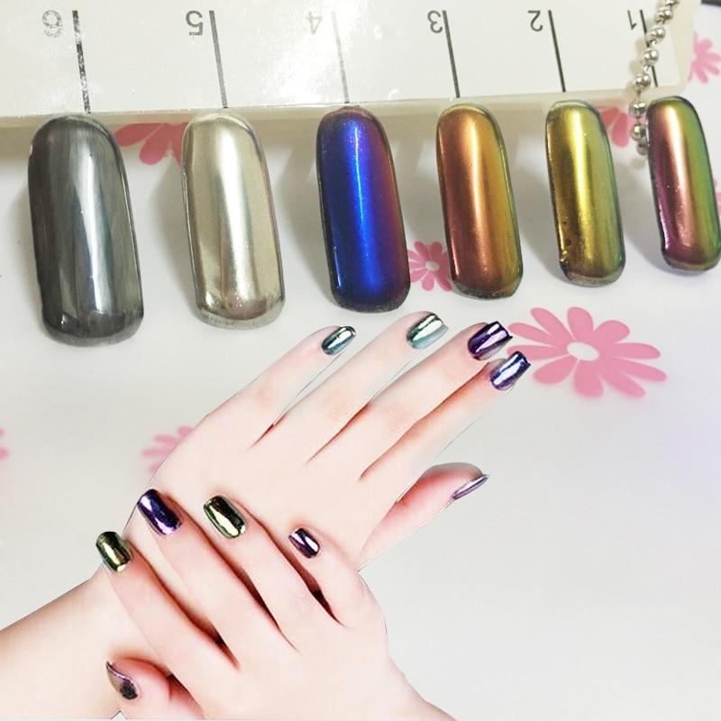 2017 New 6 Color Nail Glitter Powder Shinning Mirror Eye Shadow ...