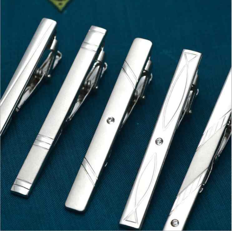 New Metal Silver Tie Clip For Men Wedding Necktie Tie Clasp Clip Gentleman Tie Bar Crystal Tie Pin For Mens Accessories FD2000
