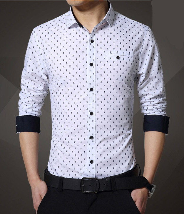 Men's Casual Shirt Little Skull Print Shirt Exquisite Slim Fit S ...