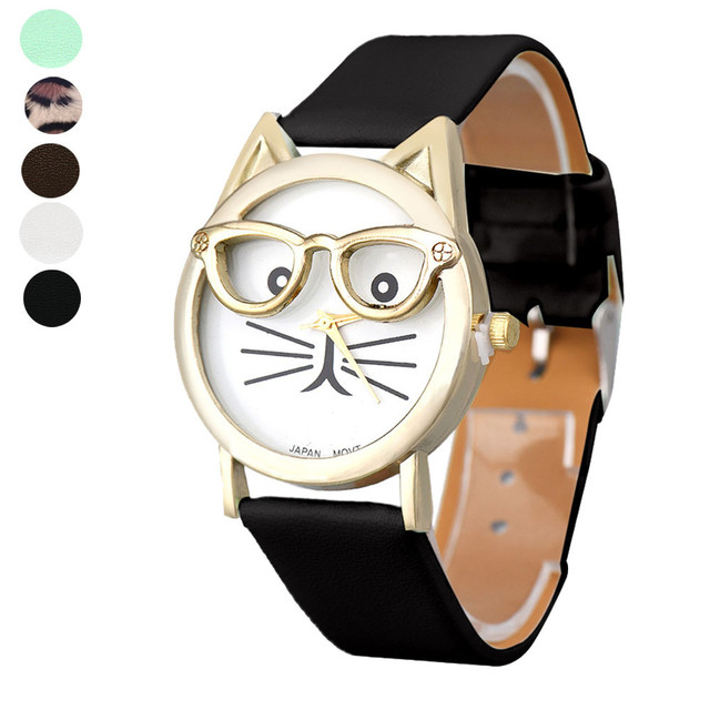 Cute Glasses Cat Women Analog Quartz Dial Wrist Watch Relogio Feminino Montre Fe