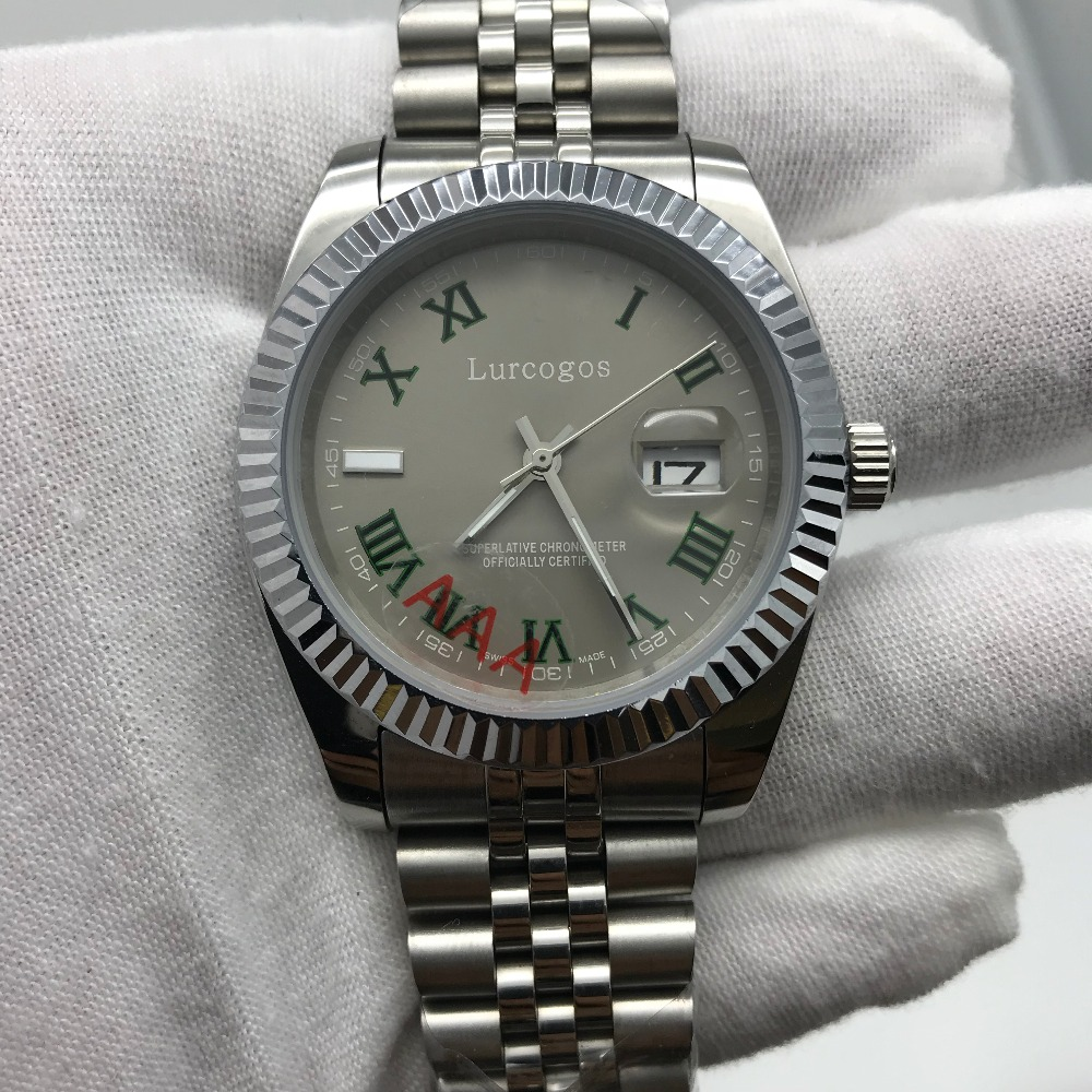 Redelijk Romeinse Cijfer Grijze Wijzerplaat Lichtgevende Mannen Horloge Automatische 41mm Glide Glad Tweedehands Datejust Vouwen Gesp Aaa Kwaliteit Horloges Koop Altijd Goed