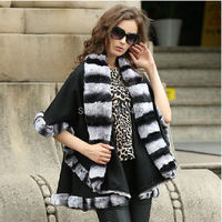 Lady's Genuine Real Cashmere Real Rex Rabbit Fur Coat Cloak Poncho/shawl//cape /Wraps