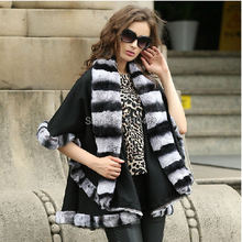 free shipping/Lady's Genuine  Real Cashmere  Real Rex Rabbit Fur Coat Cloak Poncho/shawl//cape /Wraps/ Black