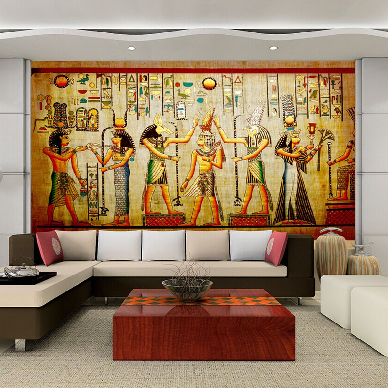 3d egyptian wall murals vintage photo wallpaper custom for Decoration maison aliexpress