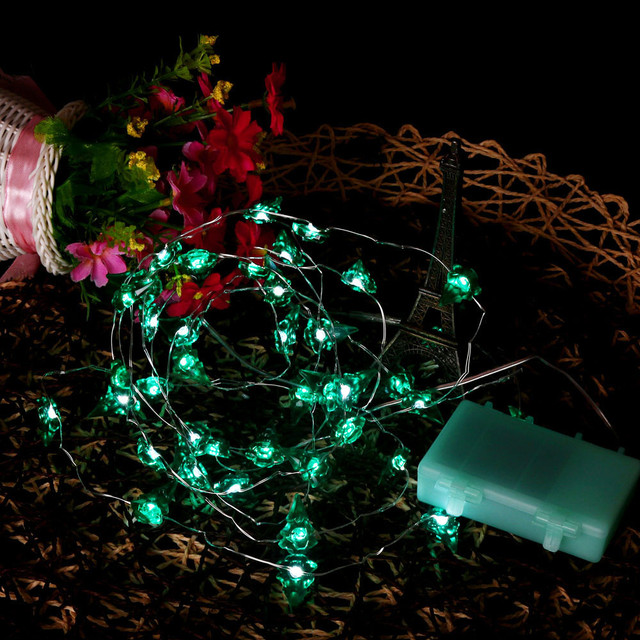 40led battery power string lights bendable copper wire string christmas tree lights