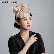 Mingli Tengda Свадебная вечеринка шляпа Cambric головной убор колпак декоративный портрет Свадебная шляпа светло-серый благородный женский головной убор Темно-Синий обруч