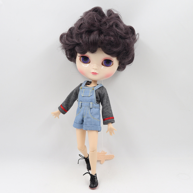 ICY Fortune Days factory  joint body 30cm white skin Handsome purple short curly hair DIY sd gift toy