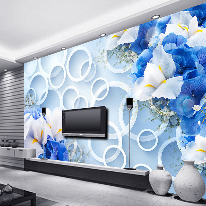 US $21.5 50% OFF|Custom 3D Photo Wallpaper Mural, Modern Blue Fantasy  Fashion 3D Flowers Home Decoration Television Wallpapers For Living Room-in  ...