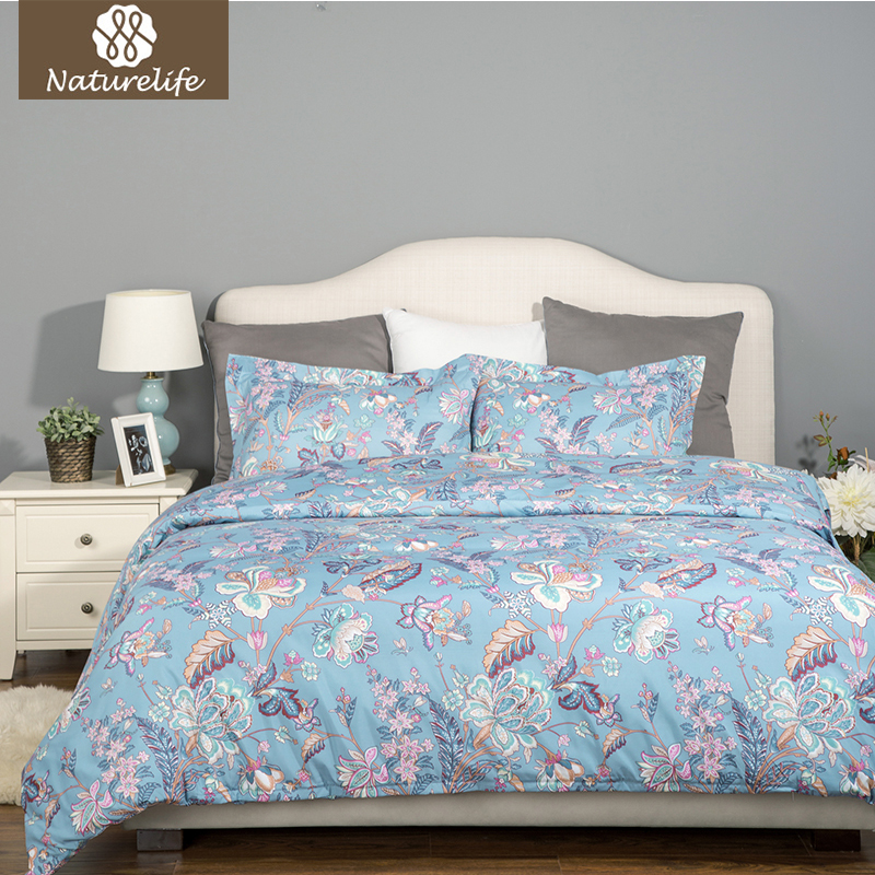Naturelife New Plaid Printed Flower Pattern 2/3pcs Duvet Cover Bed Sheet Colorful Hypoallergenic Microfiber Textile Bed Linen
