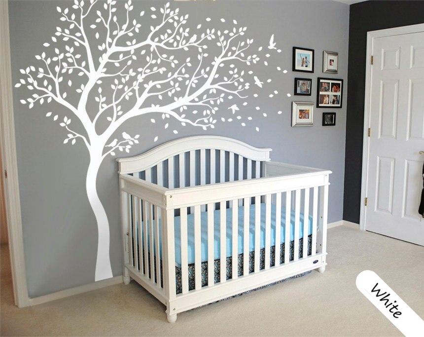 Blanc soufflant arbre oiseaux amovible Stickers muraux Stickers bébé enfants Art décor bricolage auto-adhésif papier peint Mural JW195C