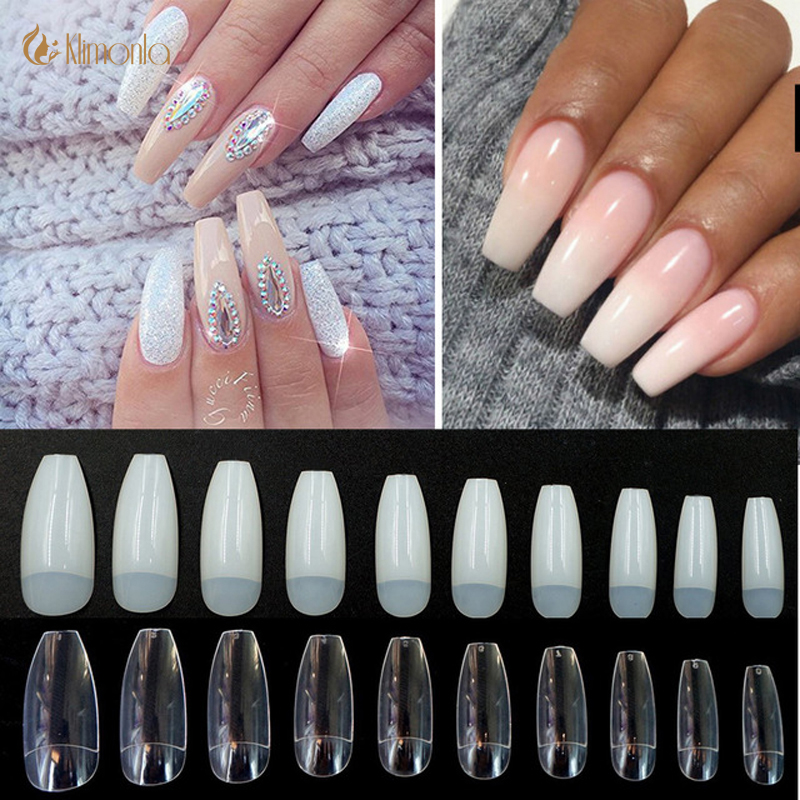 US $4.5 |500Pcsbag Coffin Nails Long Ballerina Nail Tips Square Head French Fake False Nails ABS Artificial 10 Sizes Nature Transparent in False