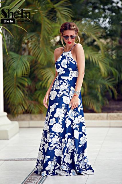 SheIn Womens Summer Maxi Dresses New Arrival Ladies Boho Dress Sleeveless Blue Halter Neck Floral Print Vintage A Line Dress