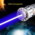 Военная Мощный Лазерный Указатель Синий 10 Mile High Питание Сжигание Лазерная USB Аккумуляторная встроенный Аккумулятор 1000 МВт Laserpen Box