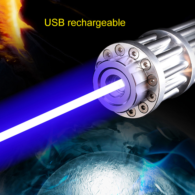 Military Powerful Laser Pointer Blue 10 Mile High Powered Burning Laser USB Rechargeable Built in Battery 1000mw Laserpen Box