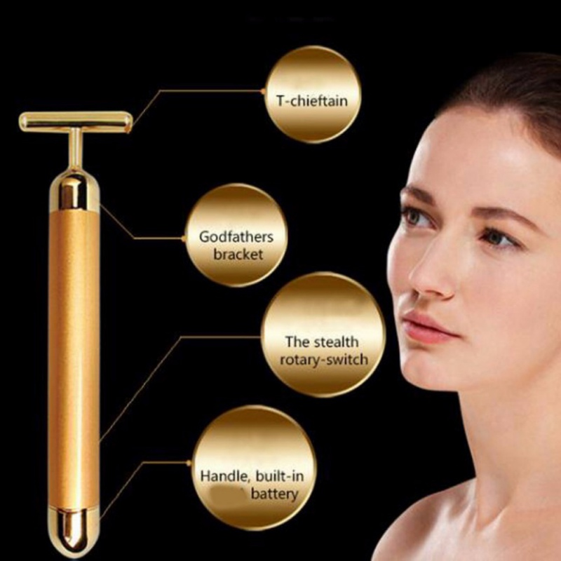 Slimming Face 24k Gold Vibration Facial Beauty Roller Massager Stick Lift Skin Tightening Wrinkle Stick Bar Face Skin Care healthsweet 24k gold mini massage device electric eye massager facial vibration thin face magic stick anti bag pouch wrinkle pen