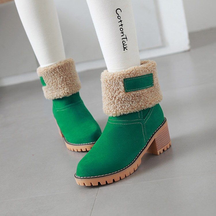 Big Size 11 12 13    Fashion  round-headed  lamb  wool thick  heel thick  warm s now  boots  thick  velvetBig Size 11 12 13    Fashion  round-headed  lamb  wool thick  heel thick  warm s now  boots  thick  velvet