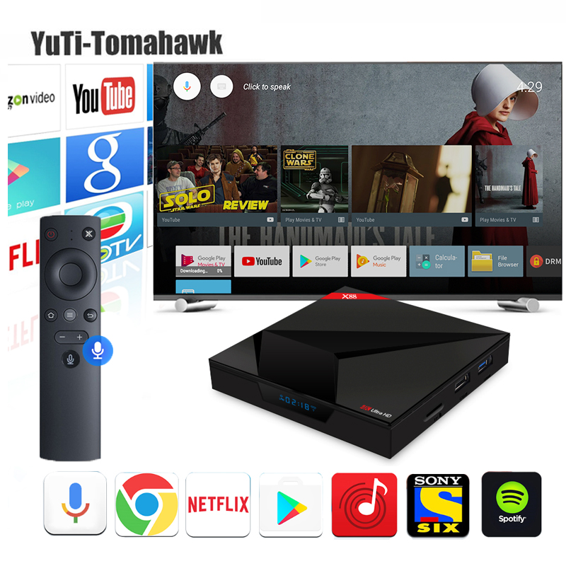 BM 4G/32G Google Android 7.1 OS TV Box X88 Rockchip RK3328 With Voice Control Input Streaming Play Store Netflix Youtube Minipc