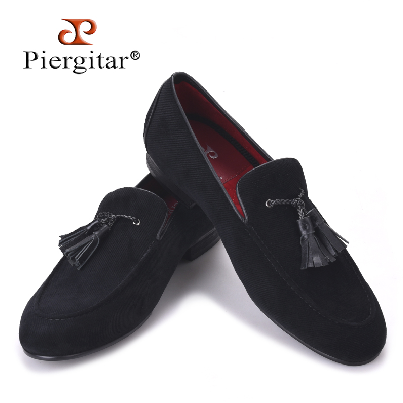 2017 new Cotton Men Shoes With Leather Tassels Handmade Men Loafers Men Wedding and Party Shoe Men Flats Size US 4-17 men loafers paint and rivet design simple eye catching is your good choice in party time wedding and party shoes men flats