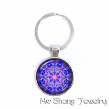 Sri Yantra Sacred Geometry / OM Metatron's Cube / Gold Flower of Life / Colorful Life Key Chain - Art Glass Theme Jewelry(China)