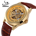 SHENHUA Top Brand Luxury Gold Automatic Self Wind Watches For Men Male Waterproof Clock Skeleton Mechanical Wristwatches Leather