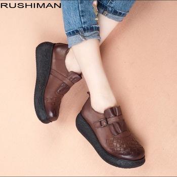 RUSHIMAN Woman Flat Platform Shoe Handmade Genuine Leather Flats vintage Soft Comfortable Women Casual Shoes