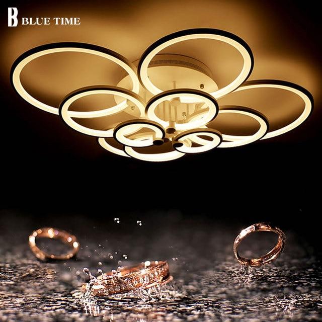 Latest Fashion Black/White Modern Led Ceiling Lights For Living Room Bedroom Ceiling Lamp Indoor Home Lighting FixturesAC90-260V